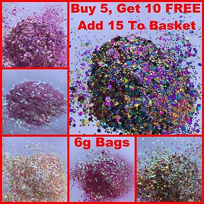 Chunky Glitter Mix 5ml Pot Eye Shadow Nail Face Tattoo Festival Club Cosmetic • 1.10£