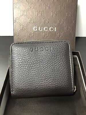 424acbcf40c NWT Authentic GUCCI Compact Zip Around Wallet In Dark Brown Crossgrain  Leather • 229.00