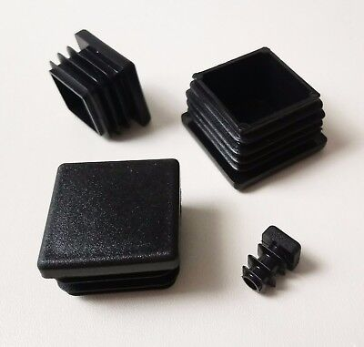 Square Plastic End Caps Blanking Plugs Box Section /Tube Inserts / Black • 1.74£