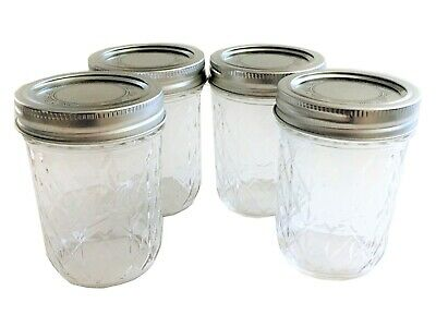 Ball Mason Jar Jelly Jars 8 Oz. Quilted Crystal Style Regular Mouth-Set Of 4 • 7.85$