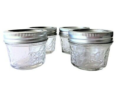 $6.85 • Buy Ball Mason Jar Jelly Jars 4 Oz. Quilted Crystal Style Regular Mouth-4 Jars