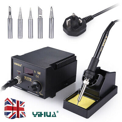 YiHua 937D+ 45W ESD Soldering Station Solder Iron W/ Extra 5 Tips Stand Kit 220V • 25.99£