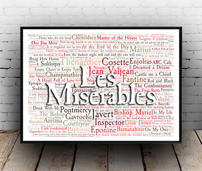 £4.89 • Buy Les Miserables Musical Poster, Quotes, Lyrics, Wall Art, Poster, All Sizes