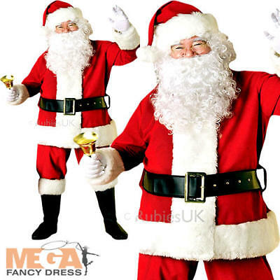 Deluxe Velvet Santa Claus Father Christmas Mens Fancy Dress Adult Costume Outfit • 57.99£