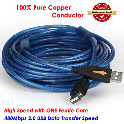AU30.39 • Buy High Speed Long USB 2.0 A-A Cable M/F Extension With Ferrite Core Cord,10 Meters