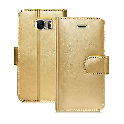 $ CDN6.91 • Buy GOLD Magnetic PU LEATHER Card Wallet Flip SmartStand Case For SAMSUNG GALAXY