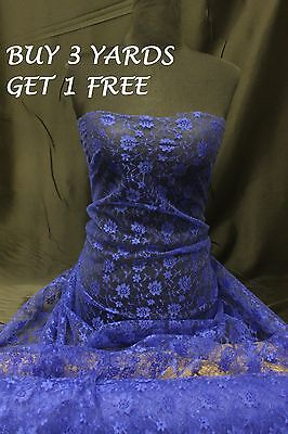 £3.35 • Buy Royal Blue Budget Lace Flowers Net Stretch Crafts Dress-making Fabric Material
