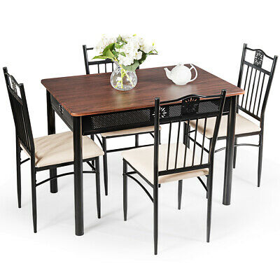 5 Piece Dining Set Wood Metal Table And 4 Chairs Kitchen Breakfast Furniture New • 149.99$