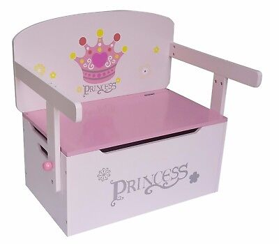 Kiddi Style Childrens Girls Princess Wood 3in1 Toy Box Chest Storage Chair Seat • 43.99£