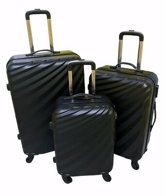 Hard Shell Light Weight 4 Wheel Spin Suitcase Abs Luggage Case - Black Set Of 3 • 54.95£