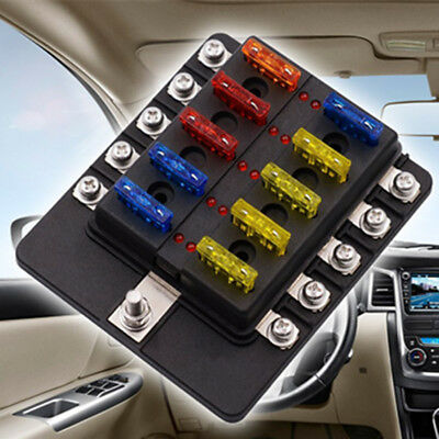 £16.94 • Buy LED 10-Way Blade Fuse Holder + ATO Fuses Car Electrical Installation Accessories