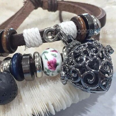 AU14.95 • Buy Aromatherapy Diffuser Leather Wrap Bracelet Essential Oil Locket With Lava Stone