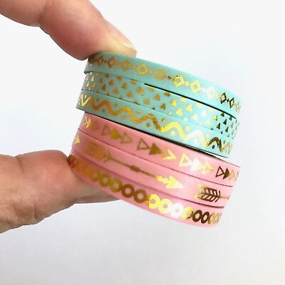 AU5.50 • Buy Slim Washi Tape Set Pink Or Green Thin 5mm X 10m