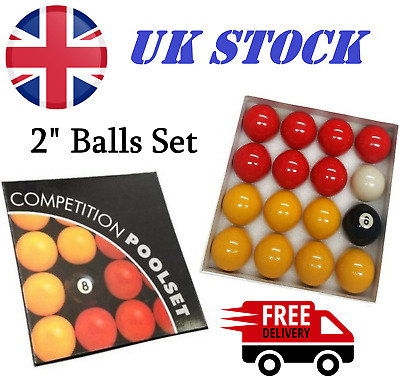£17.99 • Buy Red & Yellows Standard 2  Pool / Billiards Balls With 1 7/8  Cue Ball Pub Grade