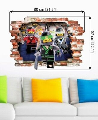 Lego Ninjago Wall Sticker Decal Stickers Children Kids Samurai 3D Art 57cmX80cm  • 12.99£