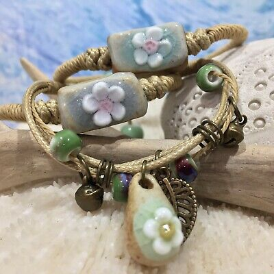 AU14.95 • Buy New Aromatherapy Diffuser Bracelet Essential Oil Ceramic Flower Bead 3 Styles