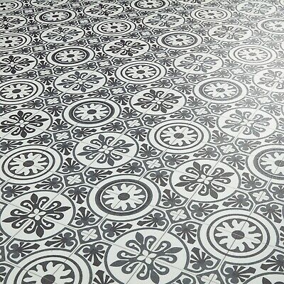 Moroccan Tile Effect Vinyl Flooring Cushioned Sheet Lino Roll Tangier 03 • 0.99£