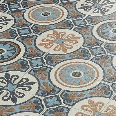Moroccan Tile Effect Vinyl Flooring Lino Cushioned Sheet Roll Tangier 05 • 44.97£