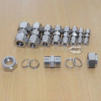 AU13.32 • Buy 3mm-22mm Equal Straight Compression Coupler Pipe Fitting Double Ferrule