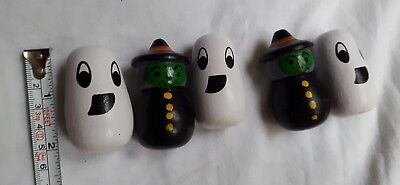 $ CDN12.63 • Buy Cute 5 Pcs Wooden HALLOWEEN Decorations Witches Witch And Ghost • Pre-owned