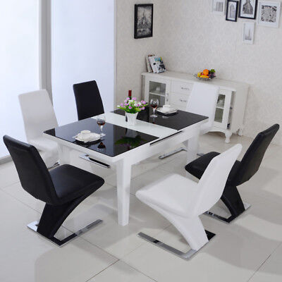 £152.95 • Buy Set Of 2 4 6 Z Shape Design Faux Leather Dining Chairs Kitchen Stool Chrome Base