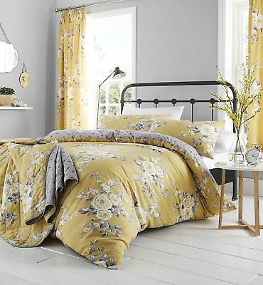 £17.99 • Buy Catherine Lansfield Canterbury Ochre/Grey Yellow Floral  Duvet Cover Bedding Set