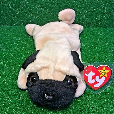 c3685e0bcfa Ty Beanie Baby 1996 Pugsly The Pug RARE RETIRED PVC Plush Toy With Canadian  TUSH •