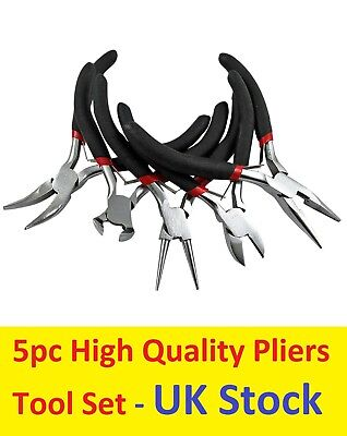 £8.99 • Buy Set Of 5 Round Bent Snipe Pliers End And Side Cutters Jewellery Making Tools UK