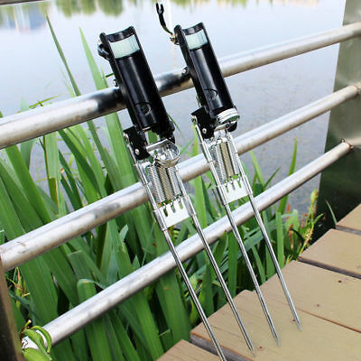AU36.88 • Buy Three Spring Fishing Rod Holder Rack Stainless Steel W/ Auto Tip-Up Hook Setter