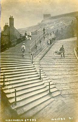 Real Photographic Postcard Old Church Steps, Whitby, North Yorkshire, Jt Ross#21 • 10£