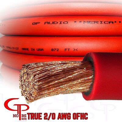 AU311.45 • Buy 50 Ft TRUE AWG 2/0 Gauge OFC Copper Battery Power Wire RED Ground Cable GPAudio
