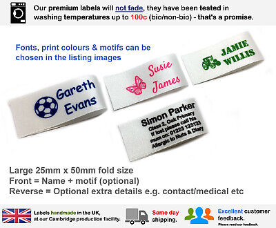 £6.49 • Buy 16 Super Soft Sew In Personalised Satin Ribbon Name Labels Woven Alternative