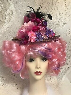$150 • Buy Pink And Purple Fun Costume Wig With Flowered Feathered Fascinator