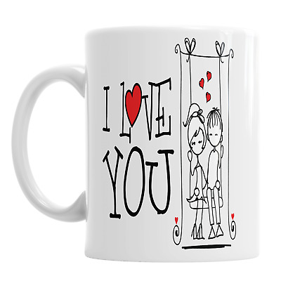 I Love You Valentine's Day Mug Romantic Love Boyfriend Girlfriend Swing • 9.49£