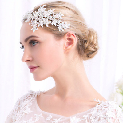 Bridal Lace Crystal And Pearl Hairpiece • 25.05£