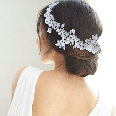 Bridal Crystal And Pearl Ribbon Hairpiece • 25.05£