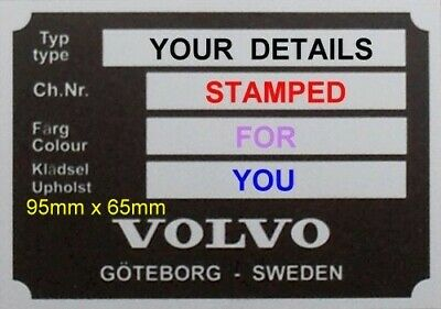 £29.50 • Buy STAMPED VIN ID PLATE NEW VOLVO PV P1800 MOST Mks 120 140 Blank Vin Chassis Plate