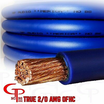 $108.99 • Buy 20 Ft TRUE AWG 2/0 Gauge OFC COPPER Power Wire BLUE Ground Cable GP Car Audio