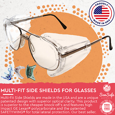 £13.63 • Buy Side Shields For Glasses Australia Safety Eyewear Attachment Tinted Or Clear