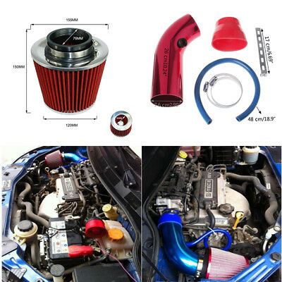 $55.89 • Buy Aluminum Car Cold Air Intake Pipe 3  & Filter W/Clamp+Accessories Red Universal
