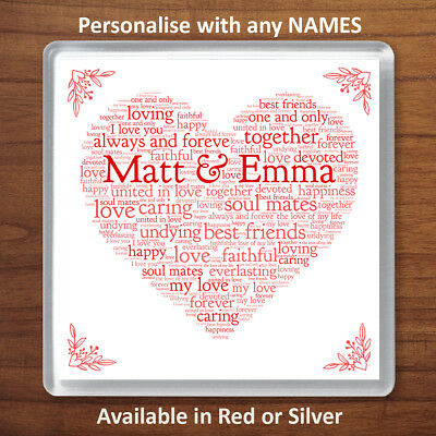 Valentines Day Personalised Gift Word Art Heart Coaster For Him Or Her Romantic • 3.49£