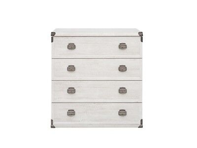 Chest 4 Drawers White Wood Effect Rustic Nautical Storage Bedroom 80 Cm Indiana • 254.95£