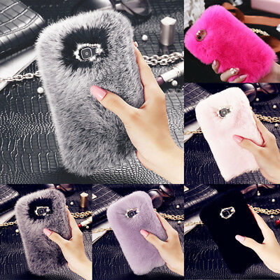 For IPhone Samsung S10 S8 S9 Stylish Warm Soft Faux Furry Fur Diamond Case Cover • 5.49£