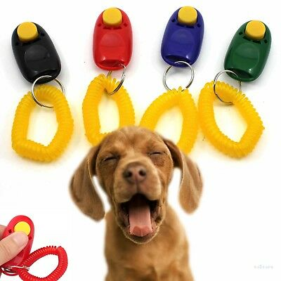 £2.50 • Buy Dog Pet Puppy Cat Training Clicker Obedience Aid Wrist Click Button Trainer