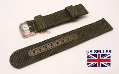 £12.50 • Buy Nylon Fabric Military Strap - 20MM - Green - Fits Seiko Army Style Watches #253