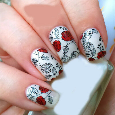 Nail Art Water Decals Stickers Transfers VALENTINES Day Love Roses Flowers Y133 • 1.85£