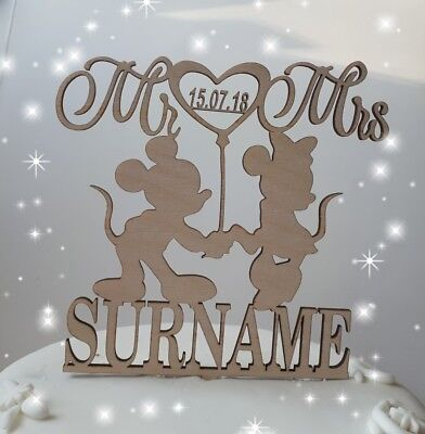 £8.99 • Buy Wooden Mickey And Minnie Mouse Wedding/ Anniversary Cake Topper Decorations