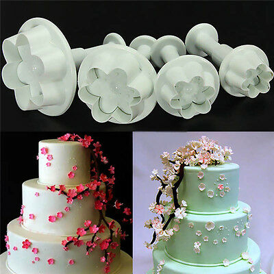 4 Pcs*Plum Flower Icing Fondant Cake Sugarcraft Decorating Plunger Mould U1W9 • 2.24£