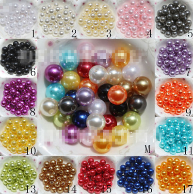 $ CDN0.99 • Buy 4mm/6mm/8mm/10mm Acrylic Round Pearl DIY Spacer Loose Beads Wholesale
