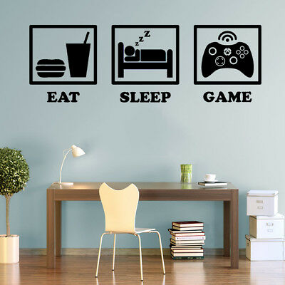 £10.38 • Buy Eat Sleep Game XBOX Controller Gaming Decals Wall Art Stickers Home Decorations